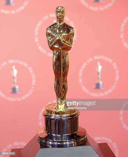Oscar Statues on display at The 2008 'Meet the Oscars The 50 Golden Statuettes' New York Press Preview at Times Square Studios on February 152008 in...
