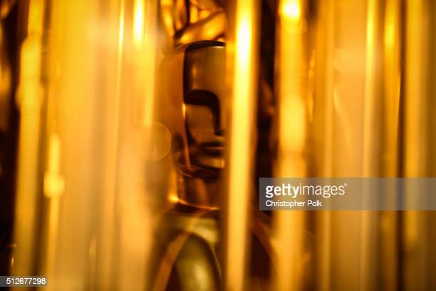 Oscar statuette is seen onstage during rehearsals for the 88th Annual Academy Awards at Dolby Theatre on February 27 2016 in Hollywood California