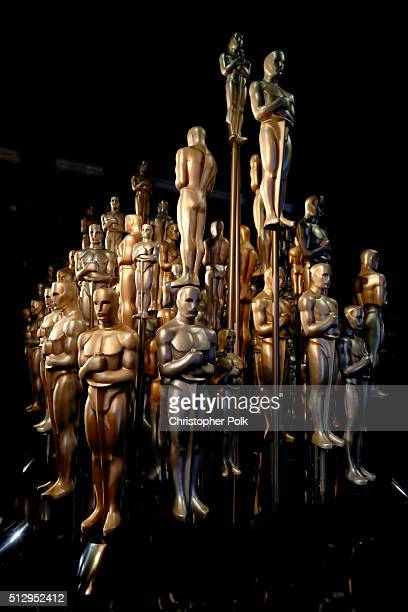 Oscar statuettes are displayed backstage at the 88th Annual Academy Awards at Dolby Theatre on February 28 2016 in Hollywood California