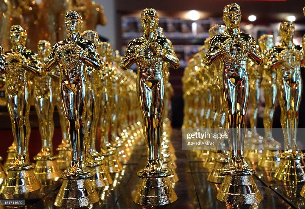Oscar statuettes are lined up in a local souvenir shop 10 days prior to this year's upcoming Oscars, the 85th Academy Awards, in Hollywood, California, on February 14, 2013. The ceremony is scheduled for February 24, 2013.