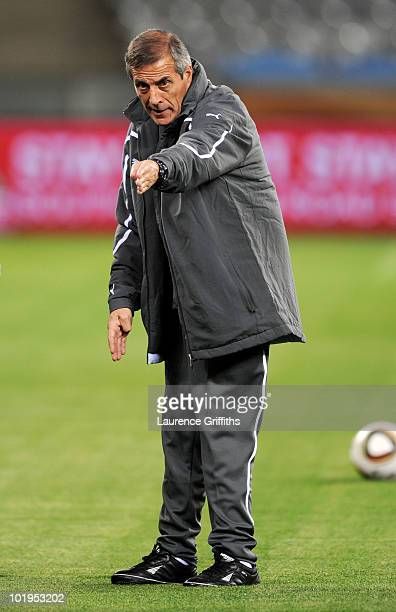 Oscar Tabarez head coach of Uruguay conducts a Uruguay training session ahead of the 2010 FIFA World Cup South Africa at Green Point stadium on June...