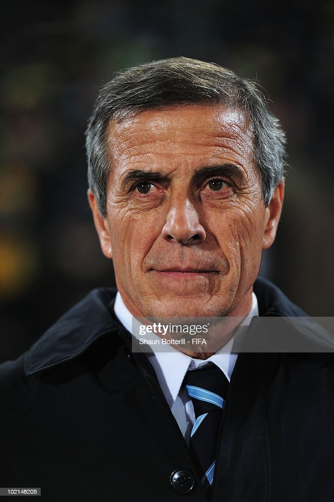 Oscar Tabarez head coach of Uruguay looks on prior to the 2010 FIFA World Cup South Africa Group A match between South Africa and Uruguay at Loftus Versfeld Stadium on June 16, 2010 in Tshwane/Pretoria, South Africa.