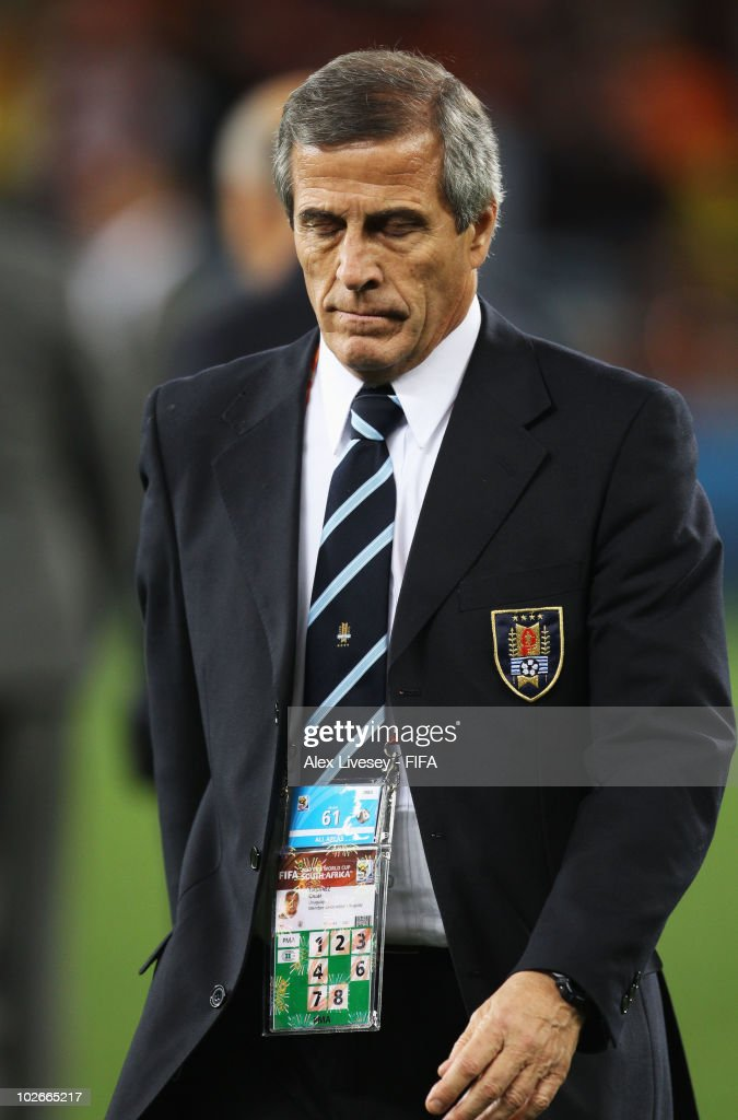 Oscar Tabarez head coach of Uruguay shows his dejection after the 2010 FIFA World Cup South Africa Semi Final match between Uruguay and the Netherlands at Green Point Stadium on July 6, 2010 in Cape Town, South Africa.