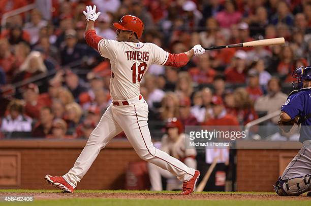 Oscar Taveras of the St Louis Cardinals bats against the Colorado Rockies at Busch Stadium on September 13 2014 in St Louis Missouri