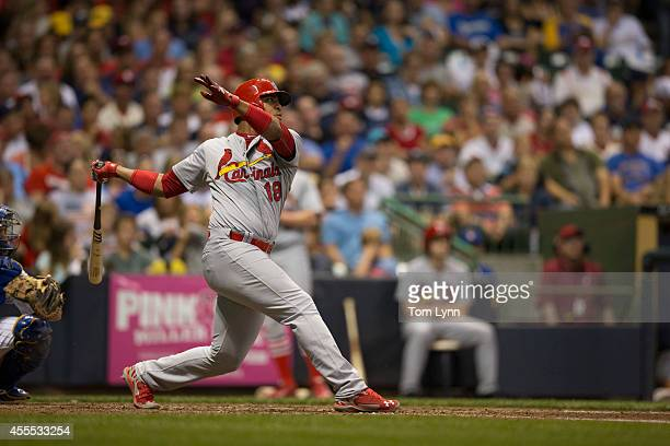 Oscar Taveras of the St Louis Cardinals bats against the Milwaukee Brewers at Miller Park on September 6 2014 in Milwaukee Wisconsin