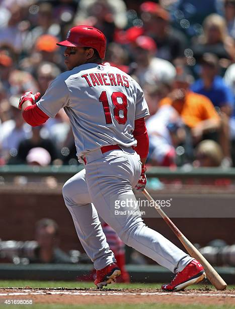 Oscar Taveras of the St Louis Cardinals bats against the San Francisco Giants during the game at ATT Park on Thursday July 3 2014 in San Francisco...