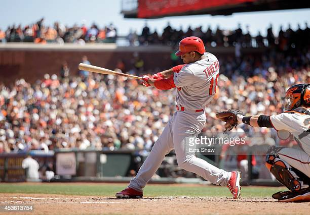 Oscar Taveras of the St Louis Cardinals bats against the San Francisco Giants at ATT Park on July 3 2014 in San Francisco California