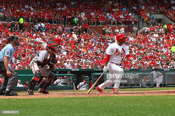 Oscar Taveras of the St Louis Cardinals bats against the San Francisco Giants at Busch Stadium on June 1 2014 in St Louis Missouri The Giants beat...