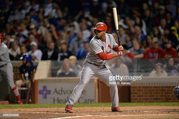 Oscar Taveras of the St Louis Cardinals bats during the second inning against the Chicago Cubs at Wrigley Field on September 24 2014 in Chicago...