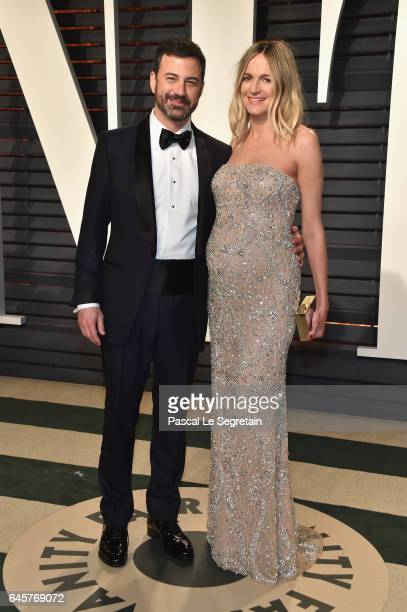 Oscar telecast host Jimmy Kimmel and writer Molly McNearney attend the 2017 Vanity Fair Oscar Party hosted by Graydon Carter at Wallis Annenberg...