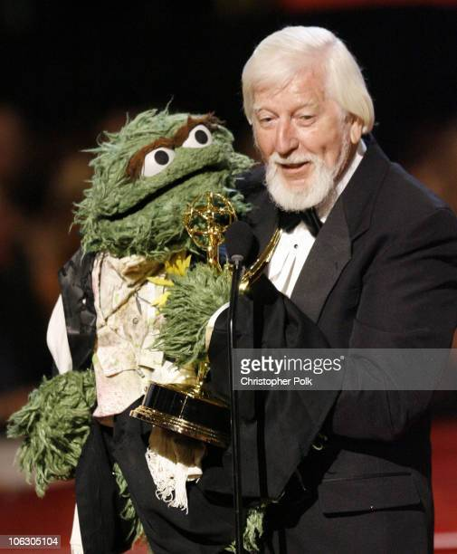 Oscar the Grouch and Caroll Spinney accept Outstanding Children's Series Performer award for 'Sesame Street'