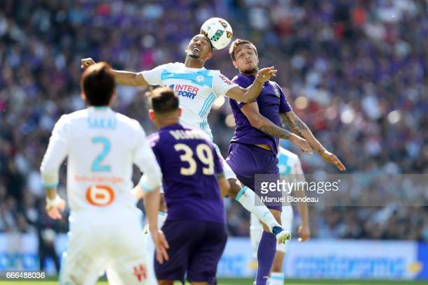 Oscar Trejo of Toulouse and William Vainqueur of Marseille during the Ligue 1 match between Toulouse FC and Olympique de Marseille at Stadium...
