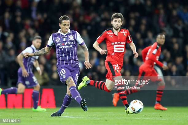 Oscar Trejo of Toulouse during the French League match between Toulouse and Rennes at Stadium Municipal on March 18 2017 in Toulouse France