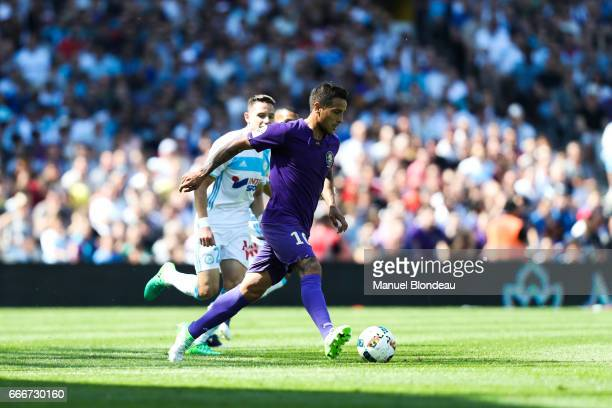 Oscar Trejo of Toulouse during the Ligue 1 match between Toulouse FC and Olympique de Marseille at Stadium Municipal on April 9 2017 in Toulouse...