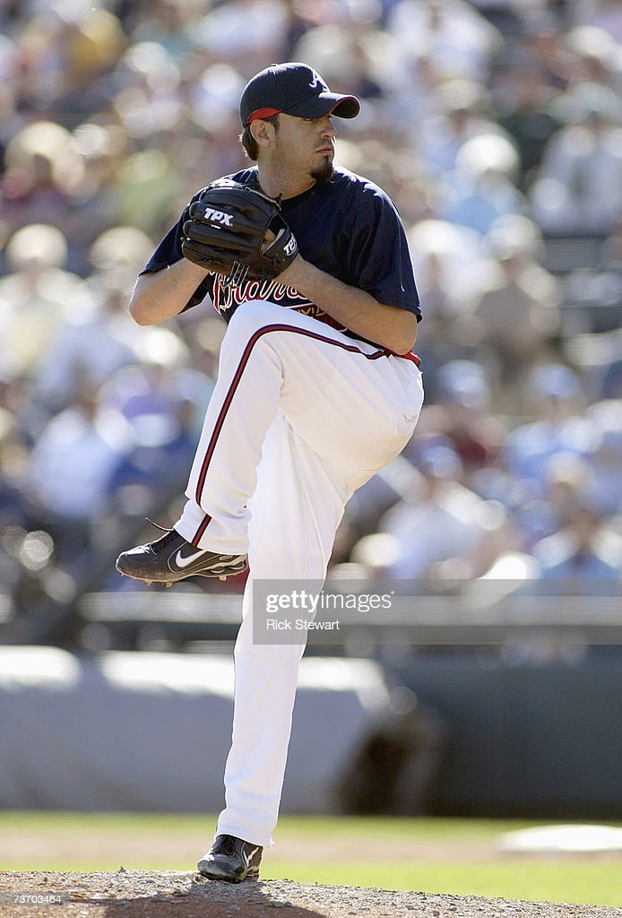 Oscar Villarreal of the Atlanta Braves delivers the pitch during a Spring Training game against the Washington Nationals at The Ballpark at Disney's...