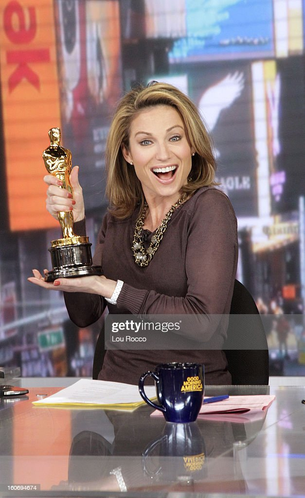 AMERICA - Oscar visits 'Good Morning America,' 2/4/13, airing on the ABC Television Network. The Oscar appears courtesy of ©AMPAS. (Photo by Lou Rocco/ABC via Getty Images) AMY