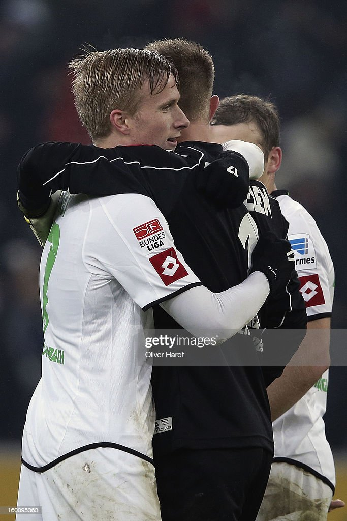 Oscar Wendt (L) and Marc Ter Stegen (R) of Gladbach celebrate after the Bundesliga match between VfL Borussia Moenchengladbach v Fortuna Duesseldorf at Borussia Park Stadium on January 26, 2013 in Moenchengladbach, Germany.