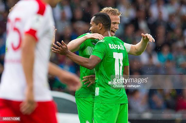 Oscar Wendt and Raffael of Borussia Moenchengladbach celebrate after their third goal during a friendly match between KSV Hessen Kassel and Borussia...