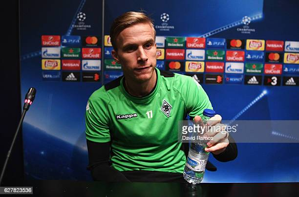 Oscar Wendt looks on during a VfL Borussia Moenchengladbach press conference on the eve of their UEFA Champions League match against FC Barcelona at...