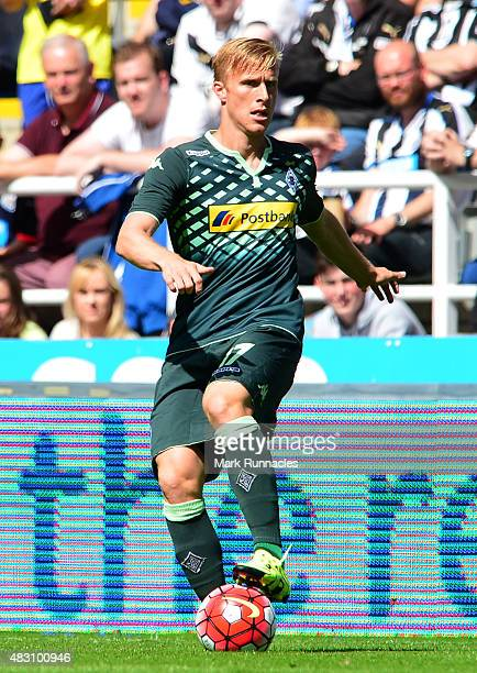 Oscar Wendt of Borussia Moenchengladbach in action during the Pre Season Friendly between Newcastle United and Borussia Moenchengladbach at St James'...