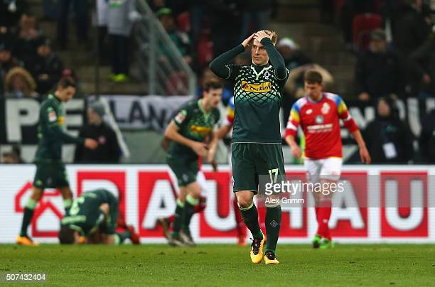 Oscar Wendt of Borussia Moenchengladbach reacts during the Bundesliga match between 1 FSV Mainz 05 and Borussia Moenchengladbach at Coface Arena on...