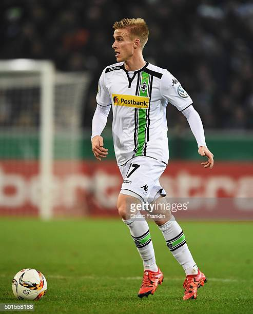 Oscar Wendt of Gladbach in action during the DFB Pokal match between Borussia Moenchengladbach and Werder Bremen at BorussiaPark on December 15 2015...