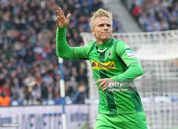 Oscar Wendt of Moenchengladbach jubilates after scoring the first goal during the Bundesliga match between Hertha BSC and Borussia Moenchengladbach...