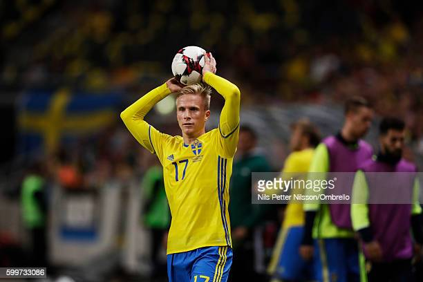 Oscar Wendt of Sweden during the FIFA World Cup Qualifier between Sweden and Netherlands at Friends arena on September 6 2016 in Solna Sweden