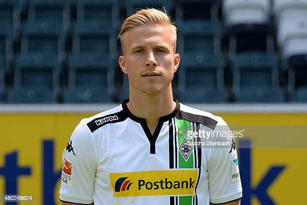 Oscar Wendt poses during the team presentation of Borussia Moenchengladbach at BorussiaPark on July 10 2015 in Moenchengladbach Germany