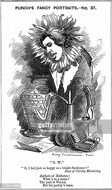 Oscar Wilde Irish playwright novelist poet and wit Cartoon by Edward Linley Sambourne from his 'Fancy Portraits' series for Punch London 25 June 1881...