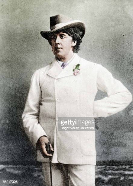 Oscar Wilde Irish writer in holidays about 1893 Guillot de Saix collection Colourized photo