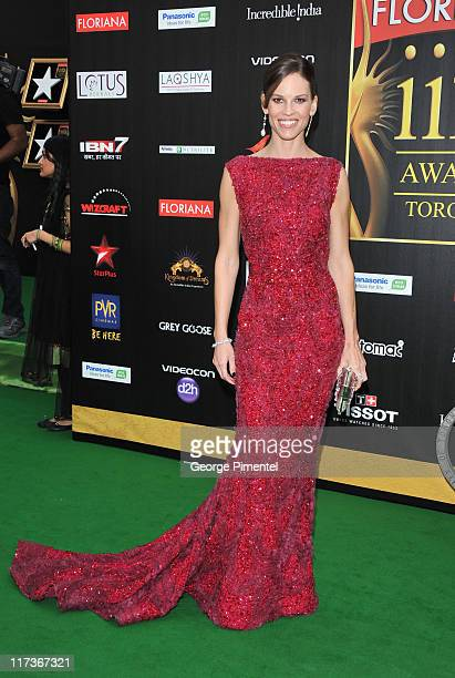 Oscar winner Hilary Swank attend the MAC Cosmetics Sponsored IIFAS Awards Presentation at the Rogers Centre on June 25 2011 in Toronto Canada