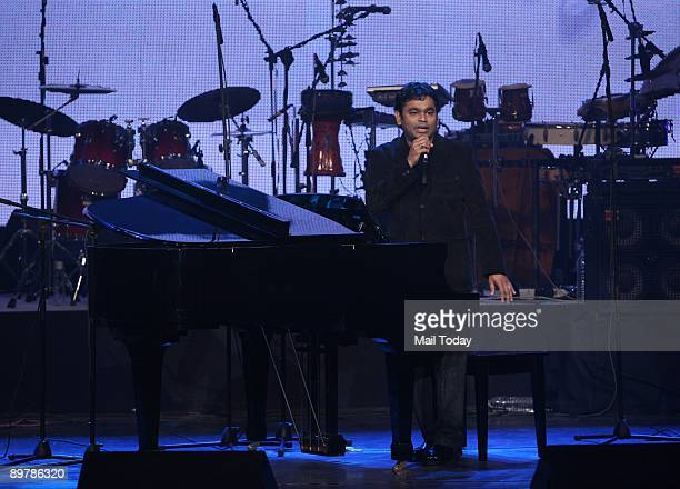 Oscar winner music composer A R Rahman performs at a concert 'A R Rahman Unplugged' organised to mark the 50th year of Doordarshan in New Delhi on...