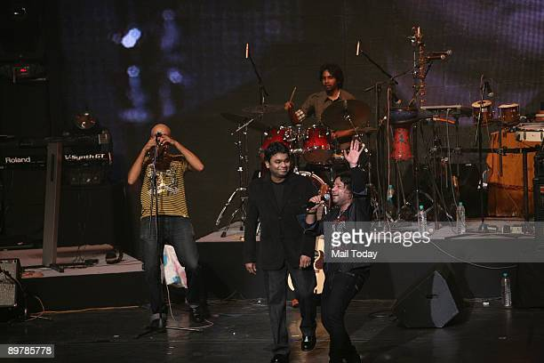 Oscar winner music composer A R Rahman with singer Kailash Kher at a concert 'A R Rahman Unplugged' organised to mark the 50th year of Doordarshan in...