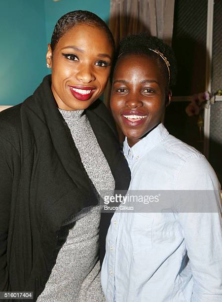 Oscar Winners Jennifer Hudson and Lupita Nyong'o pose backstage at 'Eclipsed' on Broadway at The Golden Theatre on March 16 2016 in New York City