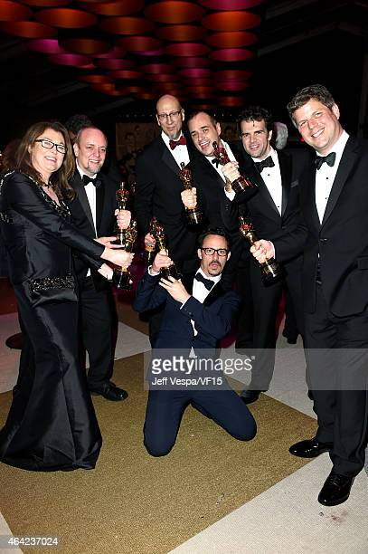 Oscar winnersa Frances Hannon Mark Coulier Mat Kirkby Chris Williams Thomas Curley Craig Mann and Adam Stockhause attend the 2015 Vanity Fair Oscar...