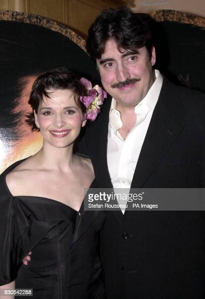 Oscar winning actress Juliette Binoche and Alfred Molina at a pre screening reception for the UK premiere of acclaimed film Chocolat in the...