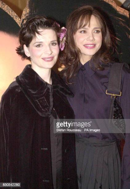 Oscar winning actress Juliette Binoche and Lena Olin at a pre screening reception for the UK premiere of acclaimed film Chocolat at the Washington...