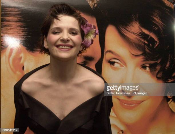 Oscar winning actress Juliette Binoche at a pre screening reception for the UK premiere of acclaimed film Chocolat at the Washington Hotel in west...
