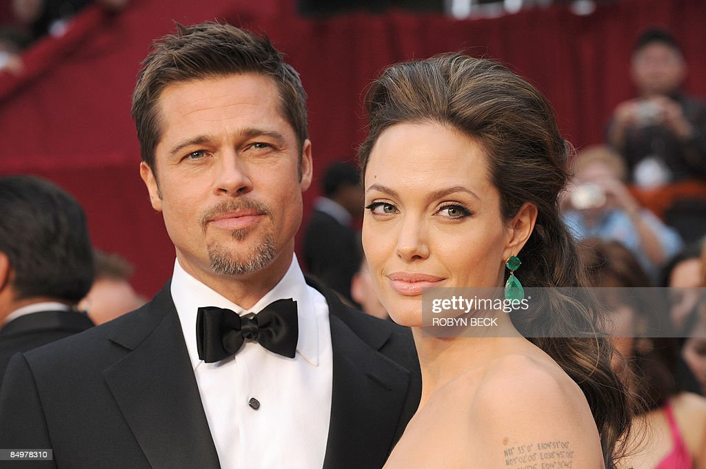Oscarnominated actors Brad Pitt and Angelina Jolie arrive at the 81st Academy Awards at the Kodak Theater in Hollywood California on February 22 2009...