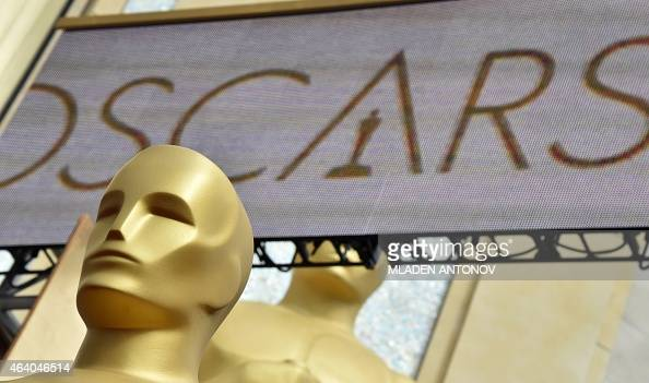 Oscars statues are seen at the red carpet outside the Dolby Theatre as preparations are underway for the 87th annual Academy Awards in Hollywood...