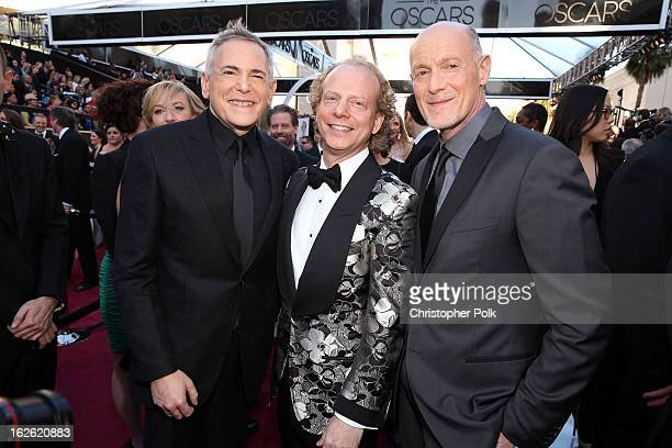 Oscar's Telecast Executive Producer Craig Zadan producer Bruce Cohen and Oscar's Telecast Executive Producer Neil Meron arrive at the Oscars held at...