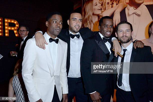 Oscars telecast host Chris Rock rapper French Montana music mogul Sean 'Diddy' Combs and actor Tobey Maguire attend the 2016 Vanity Fair Oscar Party...