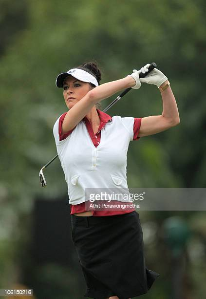 Oscarwinning actress Catherine ZetaJones plays a shot ahead of the inaugural Mission Hills Star Trophy on October 27 2010 in Haikou China The Mission...