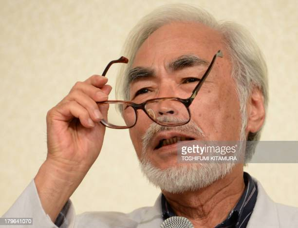 Oscarwinning Japanese animator Hayao Miyazaki answers a question during his press conference in Tokyo on September 6 2013 Miyazaki announced his...