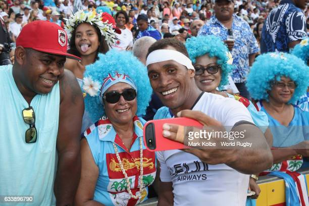 Osea Kolinisau of Fiji takes a selfie with people in the crowd after the 5th place playoff match between Fiji and USA in the 2017 HSBC Sydney Sevens...