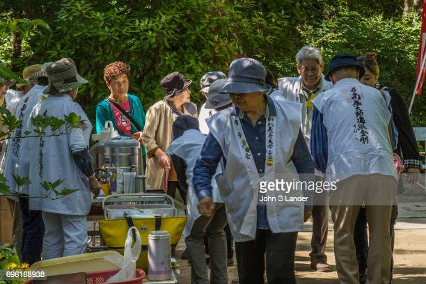 SHIKOKU TAKAMATSU KAGAWA JAPAN Osettai is the custom of giving support to henro pilgrims Some people along the pilgrimage trail offer food water and...
