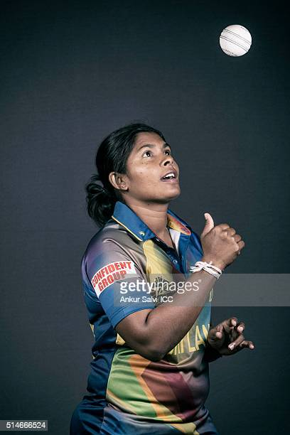 Oshadi Ranasinghe during the photocall of the Sri Lanka team ahead of the Women's ICC World Twenty20 India 2016 on March 9 2016 in Bangalore India