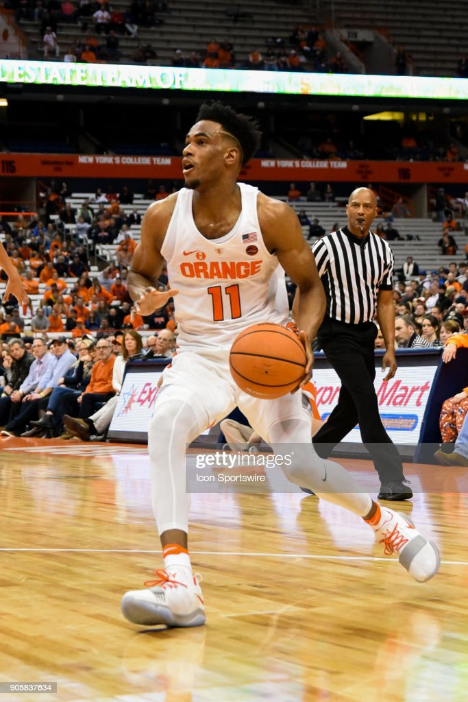 Oshae Brissett #11 of the Syracuse Orange drives to the basket during the second half of play between the Syracuse Orange and the Pittsburgh Panthers on January 16th, 2018 at the Carrier Dome in Syracuse, NY.