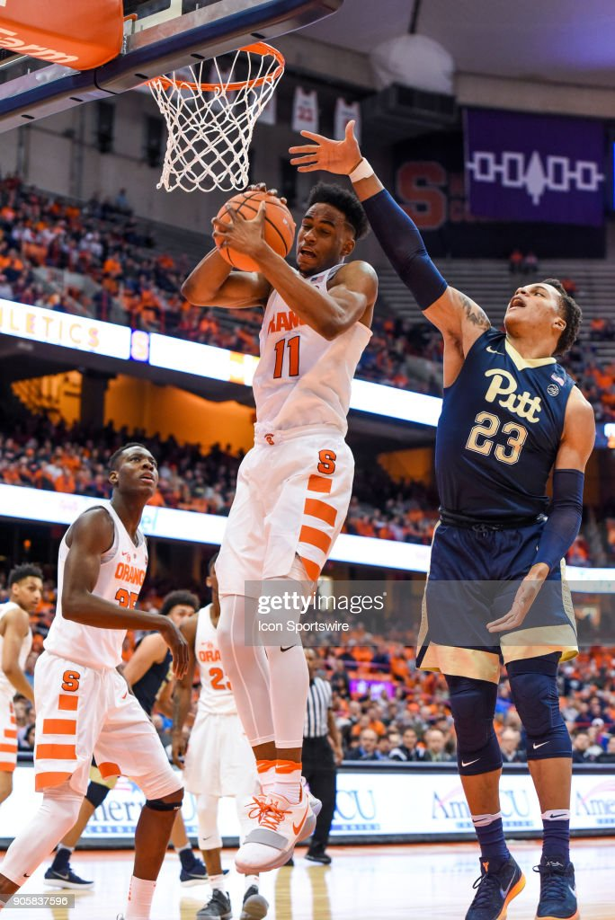 Oshae Brissett #11 of the Syracuse Orange pulls down the defensive rebound during the first half of play between the Syracuse Orange and the Pittsburgh Panthers on January 16th, 2018 at the Carrier Dome in Syracuse, NY.